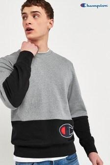 Champion Logo Colourblock Crew Neck Sweatshirt