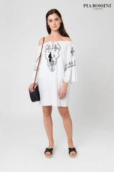 Pia Rossini White Beach Dress With Embroidery Detail