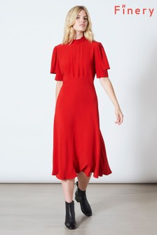 Finery London Red Beaumont Sleeve Detail Full Dress