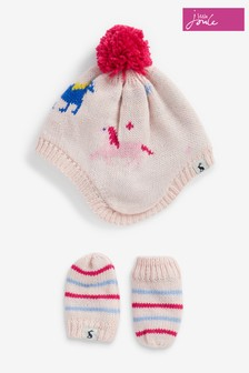Joules Pink Nippy Knitted Hat And Mittens Set