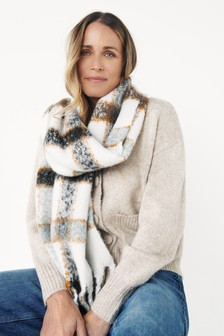 100% Recycled Polyester Check Blanket Scarf