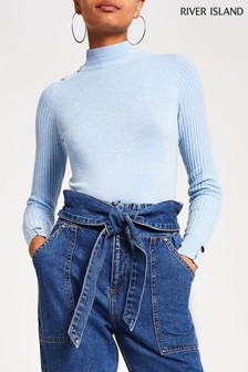 River Island Blue Light Rita Turtle Neck Jumper