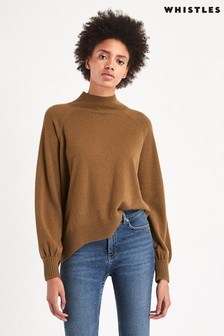 Whistles Toffee Funnel Neck Cashmere Knit