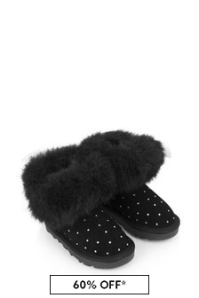 Monnalisa Girls Black Suede Boots With Faux Fur Trim