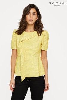 Damsel In A Dress Yellow Nanette Print Drape Blouse