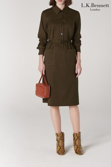 L.K.Bennett Green Collins Shirt Dress