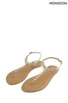 Monsoon Gold Embellished Toe Post Sandals