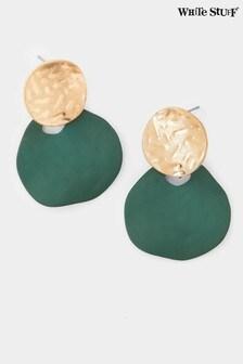 White Stuff Green Double Drop Earrings