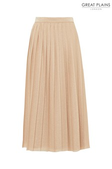 Great Plains Gold Pia Pleats Midi Skirt