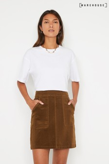 Warehouse Tan Cord Patch Pocket Mini Skirt