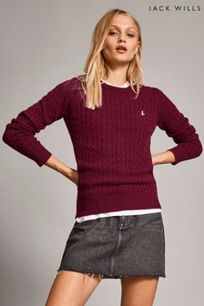 Jack Wills Pink Tinsbury Classic Cable Crew Top