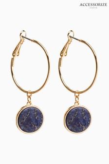 Accessorize Blue Lapis Stone Hoop Drop Earrings