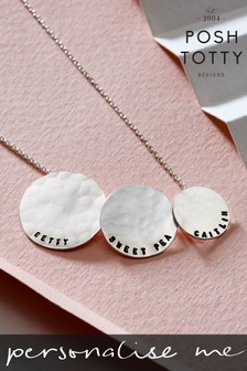 Personalised Triple Hammered Disc Necklace by Posh Totty Designs