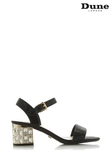Dune Ladies Black Jewelled Heel Dressy Sandal