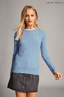 Jack Wills Blue Tinsbury Classic Cable Crew Top