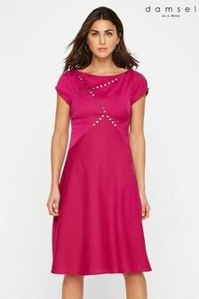 Damsel In A Dress Purple Delia Button Detail Dress