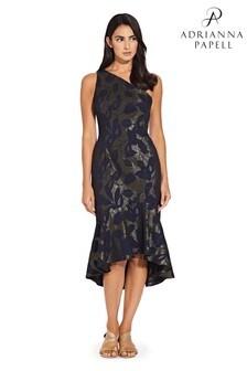 Adrianna Papell Blue Metallic Jacquard One Shoulder Dress