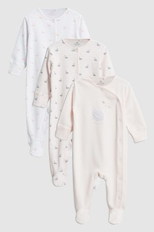Delicate Swan Sleepsuits Three Pack (0mths-2yrs)