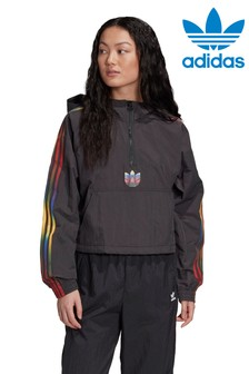 adidas Originals 3 Stripe Rainbow Cropped Hoody