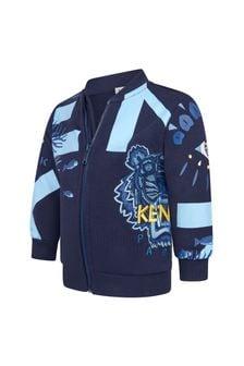 Kenzo Kids Baby Boys Navy Cotton Zip Up Top