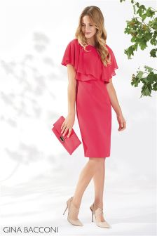 Gina Bacconi Red Flora Crepe And Chiffon Dress