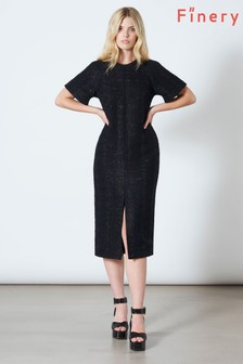 Finery London Black Cedar Tweed Shift Dress
