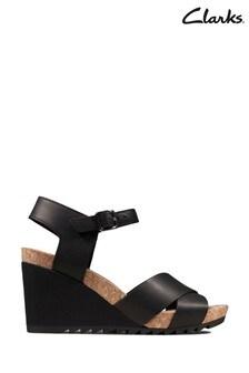 Clarks Black Leather Flex Sun Sandals