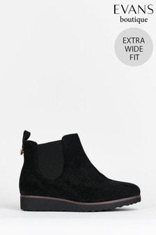 Evans Curve Extra Wide Fit Black Chelsea Boots