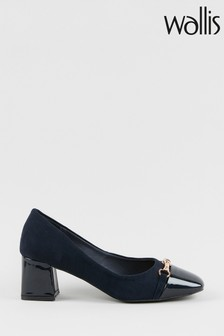 Wallis Cast Navy Trim Flared Block Heels