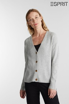 Esprit Grey Long Sleeve Button Cardigan