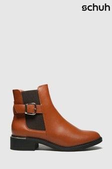 Schuh Tan Caitlin Buckle Chelsea Boots
