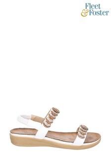 Fleet & Foster White Java Elasticated Sandals