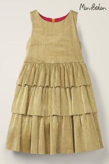 Mini Boden Gold Sparkle Tiered Dress