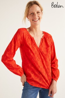 Boden Orange Priscilla Broderie Blouse