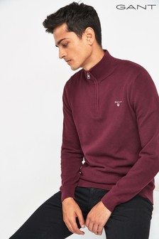 GANT Red Cotton Half Zip Pique Knit