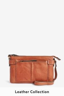 Leather Stitch Detail Across-Body Bag