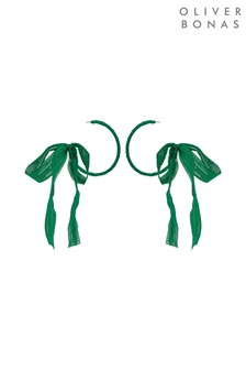 Oliver Bonas Green Benvolio Ribbon Bow Hoop Earrings