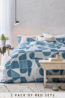 2 Pack Block Geometric Duvet Cover And Pillowcase Set