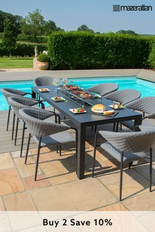 Pebble 8 Seater Rectangular Dining Set With Fire Pit By Maze Rattan