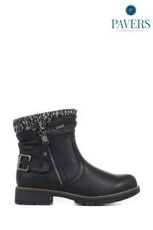 Pavers Black Ladies Water Resistant Ankle Boots