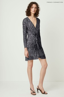 French Connection Pewter Emille Sparkle Short Dress