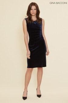 Gina Bacconi Blue Gaela Velvet Dress