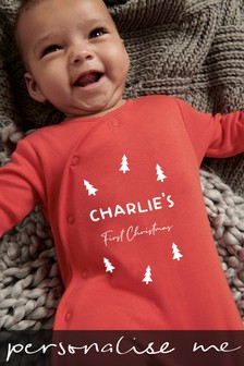 Personalised 1st Christmas Sleepsuit