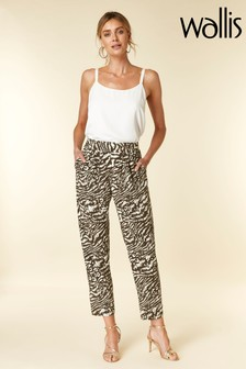 Wallis Khaki Animal Print Tapered Trouser