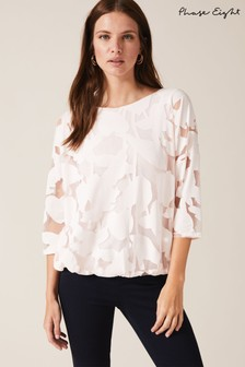 Phase Eight Pink Reine Palm Bubble Hem Burnout Top