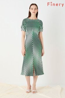 Finery London Green Emina Printed Abstract Linear Dress
