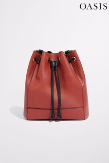Oasis Orange Drawstring Bucket Bag