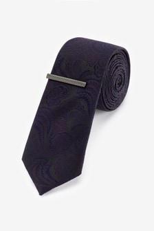 Галстук с цветочным рисунком и зажим для галстука