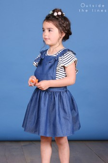 Outside The Lines Blue Dungaree Dress