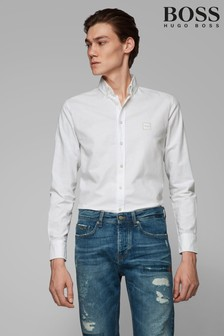 BOSS White Mabsoot Oxford Logo Shirt